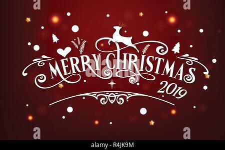 Merry Christmas day 2019. Happy new year and Xmas festival end year party message text  calligraphy decoration greeting card abstract wallpaper - Stock Photo