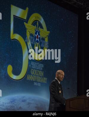 Gen. Mike Holmes, Air Combat Command commander, speaks during the Airlift/Tanker Association Symposium in Grapevine, Texas, Oct. 27, 2018. 'When you read through the things that the chief and the secretary have asked us to do - revitalize our squadrons - think about your role in that, and think about how we work together to make that community we feel is home for us.' A/TA provides mobility Airmen a professional development forum to  engage with industry experts within the mobility enterprise, attend seminars focused on mobility priorities, and listen to leadership perspectives from top leader - Stock Photo