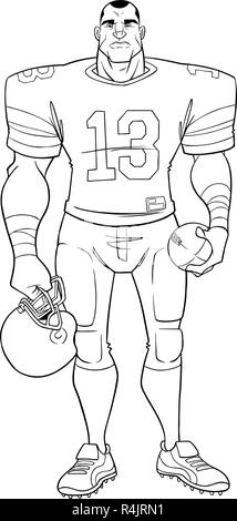 American Football Player Line Art - Stock Photo