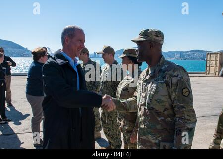 BUSAN, Republic of Korea (Oct. 30, 2018) U.S. Rep. William McClellan 'Mac' Thornberry, chairman of the House Armed Services Committee (HASC), meets with service members assigned to U.S. Forces Korea at Pier 8 in Busan. Thornberry's visit to Pier 8 is a part of an overall site visit to the Korean peninsula to meet with U.S. military components and gain a better understanding of the U.S. and ROK alliance. - Stock Photo
