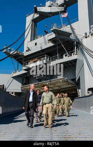 BUSAN, Republic of Korea (Oct. 30, 2018) U.S. Rep. William McClellan 'Mac' Thornberry, chairman of the House Armed Services Committee (HASC), departs the Watson-class vehicle cargo ship USNS Red Cloud (T-AKR-313) following a tour at the Military Sealift Command (MSCO) in Busan. Thornberry's visit to MSCO is part of an overall site visit to the Korean peninsula to meet with U.S. military components and gain a better understanding of the U.S. and ROK alliance. - Stock Photo
