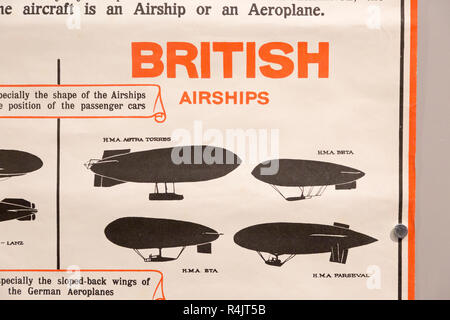 Identification poster for British army military aeroplanes of the