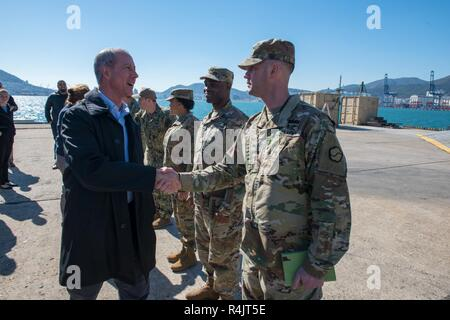 BUSAN, Republic of Korea (Oct. 30, 2018) U.S. Rep. William McClellan 'Mac' Thornberry, chairman of the House Armed Services Committee (HASC), meets with service members assigned to U.S. Forces Korea at Pier 8 in Busan. Thornberry's visit to Pier 8 is a part of an overall site visit to the Korean peninsula to interact with various U.S. military components and gain a better understanding of the U.S. and ROK alliance. - Stock Photo