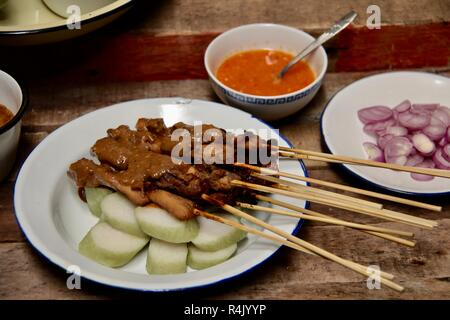 Sate Ponorogo. Traditional chicken satay from Ponorogo, East Java. - Stock Photo