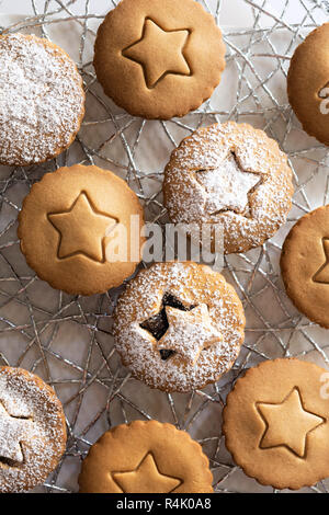 Small gingerbread fruit mince tarts dusted with icing sugar. - Stock Photo