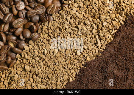 Three types of coffee in the form of diagonal strips: coffee beans, ground coffee, instant coffee - Stock Photo