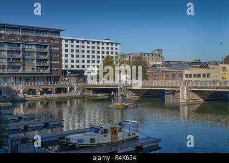 Inland harbour basin, Maastricht, the Netherlands, Binnenhafen Bassin, Niederlande - Stock Photo