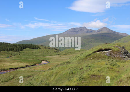 Scenic summer view of Ben More mountain from Glen More, on the picturesque island of Mull in Scotland. - Stock Photo