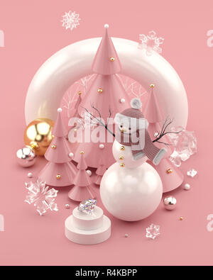 Rose Gold 3D illustration with snowman and decorated Christmas trees. - Stock Photo