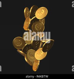 arrow shaped golden euro coins. realistic vector illustration. suitable for any economy, finance and money themes. - Stock Photo