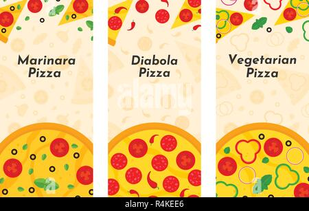 Vector flyer of Pizza and Pizzeria. Three vertical Pizza banners with ingredients and text on background. Option No1 - Stock Photo