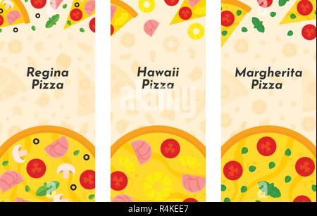 Vector flyer of Pizza and Pizzeria. Three vertical Pizza banners with ingredients and text on background. Option No2 - Stock Photo