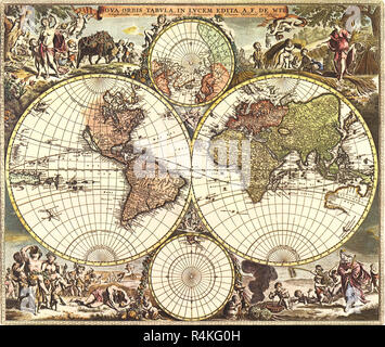 Old World Map 1688, de Wit, Frederick. - Stock Photo