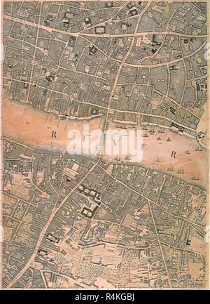 London and Thames 1746, Rocque, John. - Stock Photo