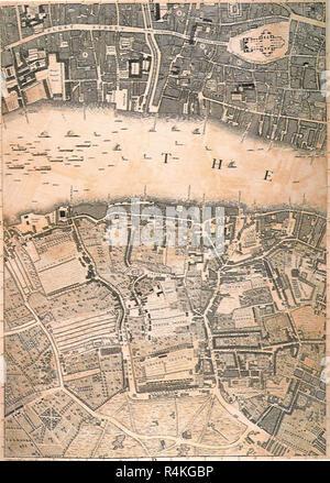 London on the Thames 1746, Rocque, John. - Stock Photo
