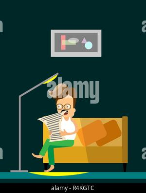 Man reading newspaper. Vector flat cartoon illustration. Man sits on a couch in study room. - Stock Photo