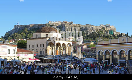 ATHENS, GREECE - MAY 04: Crowd of Tourists at Monastiraki Square in Athens on MAY 04, 2015. Popular Shopping District With Tsisdarakis Mosque in Old T - Stock Photo