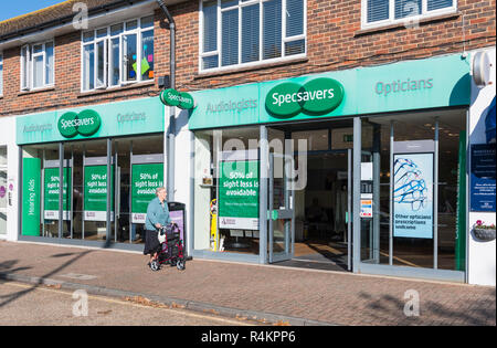 Specsavers Audiologists and Opticians shop front entrance in Rustington, West Sussex, England, UK. - Stock Photo