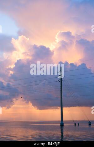 Power Lines over the ocean, Florida, Unites States - Stock Photo