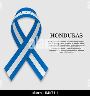 Flag of Honduras on stripe ribbon isolated on white background. Template for independence day - Stock Photo
