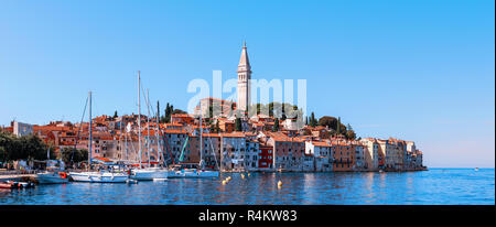 Beautiful and cozy medieval town of Rovinj, colorful with houses and a church in Croatia, in Europe. Panorama. - Stock Photo