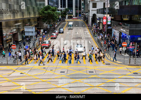 Pedder Street crossing at the junction with Des Voeux Rd, Central, Hong Kong - Stock Photo