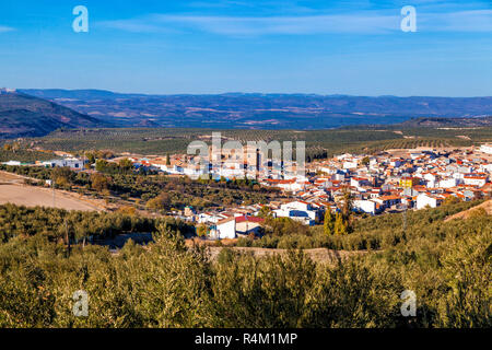 Villanueva del Arzobispo in the province of Jaen, Andalusia, surrounded by olive groves. - Stock Photo