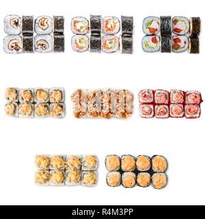 Seafood set isolated rolls - Stock Photo