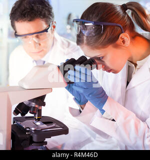 Life scientist researching in genetic laboratory. - Stock Photo