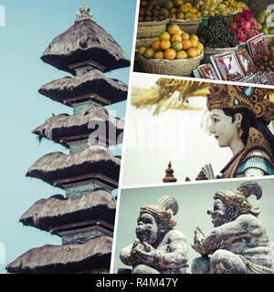 Collage of Bali (Indonesia) images - travel background (my photos) - Stock Photo