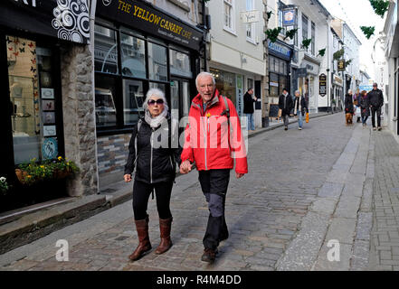 St.Ives, Cornwall, UK, narrow street scenes - Stock Photo
