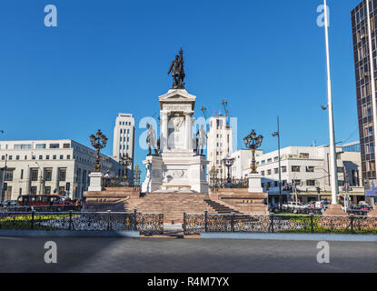 Iquique Heroes Monument at Plaza Sotomayor Square - Valparaiso, Chile - Stock Photo