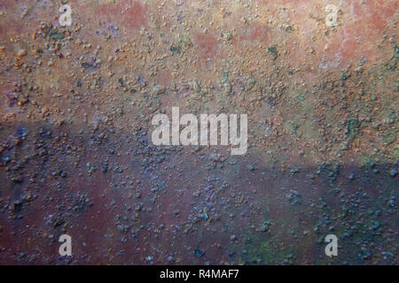 Zinc, close up of wall or fence made of rusty galvanized iron metal. Simple old vintage grunge texture. Dirty rough background. Top view, flat lay, co - Stock Photo