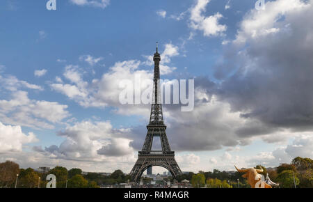 the famous Eiffel Tower under heavy clouds,Paris, France. - Stock Photo