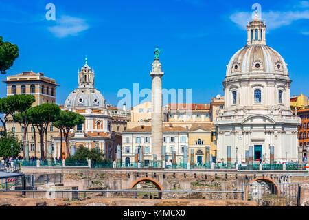 Rome, Italy: Traian column and Santa Maria di Loreto church,Italy - Stock Photo