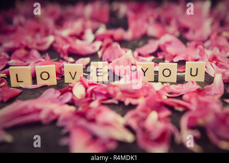Message I love you spelled in wooden blocks with roses in background - Stock Photo