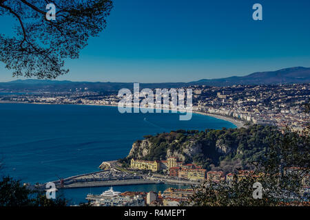 Villefranche sur mer seen from Mont Boron Provence France - Stock Photo