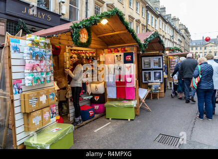 Christmas Market stalls in Milsom Street, Bath, England - Stock Photo