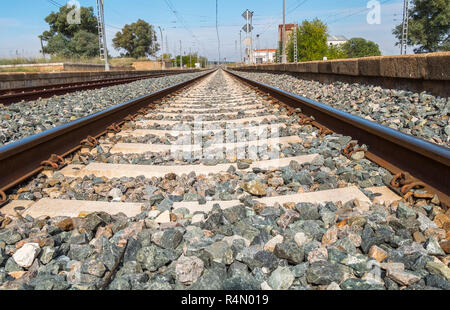 Railroad view passing through the station - Stock Photo