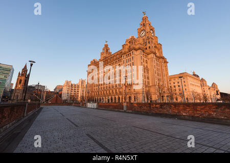 Royal Liver Building in Liverpool, England - Stock Photo