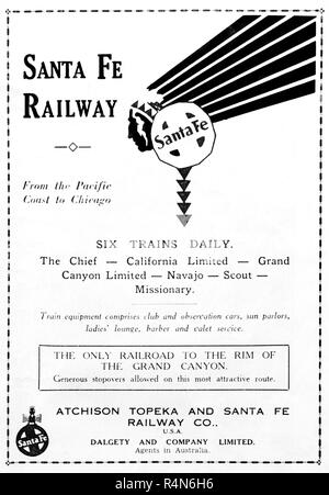 Advertisement in a 1932 Australian newspaper for the Atchison Topeka and Santa Fe Railway Co. - Stock Photo