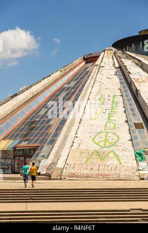 Tirana, Albania- 01 July 2014: Pyramid of memory, one of the historical symbols of Tirana. Tirana is the capital and most populous city of Albania. - Stock Photo