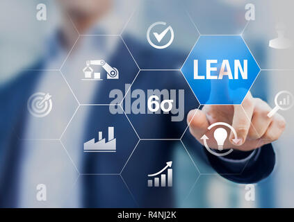 Lean manufacturing and six sigma management and quality standard in industry, continuous improvement, reduce waste, improve productivity and efficienc - Stock Photo
