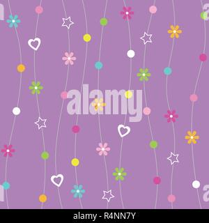 Hearts, flowers, dots and stars pattern with curved lines on purple background - Stock Photo