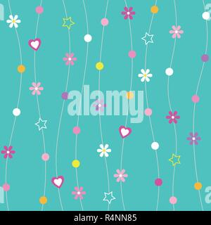 Hearts, flowers, dots and stars pattern with curved lines on turquoise background - Stock Photo