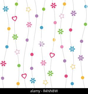 Hearts, flowers, dots and stars pattern with curved lines on white background - Stock Photo