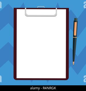 Business Empty template for Layout for invitation greeting card promotion poster voucher. Blank Sheet of Bond Paper on Clipboard with Click Ballpoint  - Stock Photo