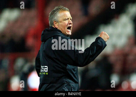 London, UK. 27th November, 2018. Sheffield United Manager Chris Wilder celebrates his teams victory. EFL Skybet championship match, Brentford v Sheffield Utd at Griffin Park stadium in London on Tuesday 27th November 2018.  this image may only be used for Editorial purposes. Editorial use only, license required for commercial use. No use in betting, games or a single club/league/player publications. pic by Steffan Bowen/Andrew Orchard sports photography/Alamy Live news - Stock Photo