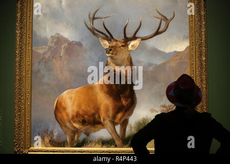 National Gallery. London, UK. 28 Nov 2018 - A woman looks at an oil-on-canvas painting of a red deer stag completed in 1851 by the English painter Sir Edwin Landseer'.     The Monarch of the Glen (about 1985) is one of the most famous British pictures of the nineteenth century; for many people it encapsulates the grandeur and majesty of ScotlandÕs highlands and wildlife.    Credit: Dinendra Haria/Alamy Live News - Stock Photo