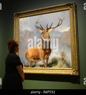London, UK. 28th November, 2018. The Monarch of the Glen goes on display at The National Gallery. Painted around 1851 by English artist Sir Edwin Landseer, it depicts a royal stag and is arguably the world's best known animal painting. Credit: Howard Jones/Alamy Live News - Stock Photo